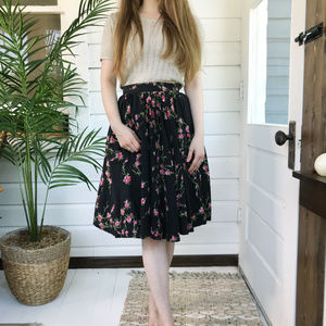 Vintage 50's Floral Full Circle Midi Skirt